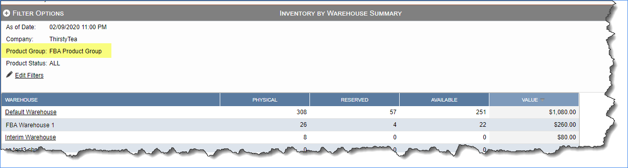 Sample inventory by warehouse summary report filtered by one product group