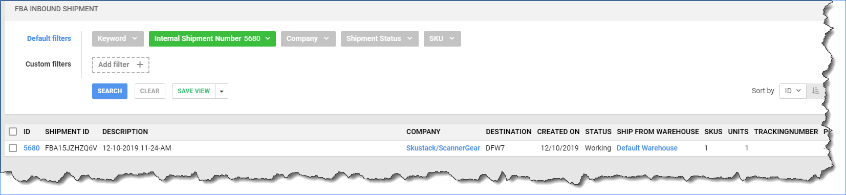 Sellercloud's Manage FBA Inbound Shipment page showing an imported FBA inbound shipment