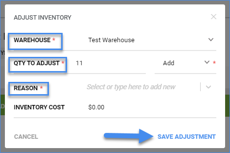 sellercloud inventory product details warehouse adjustment window