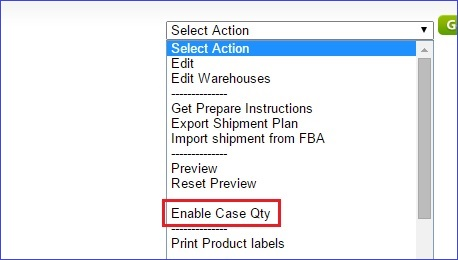 Enable case quantity in the Action menu