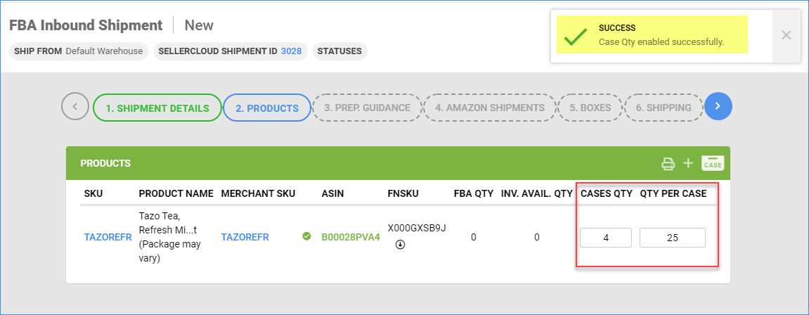 The Products tab refreshes showing a Cases Qty field with a quantity of 4 and a Qty per Case field with a quantity of 25