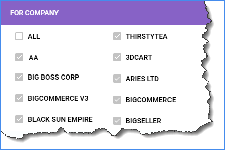 For Company panel lets you select the companies for which to apply the permissions