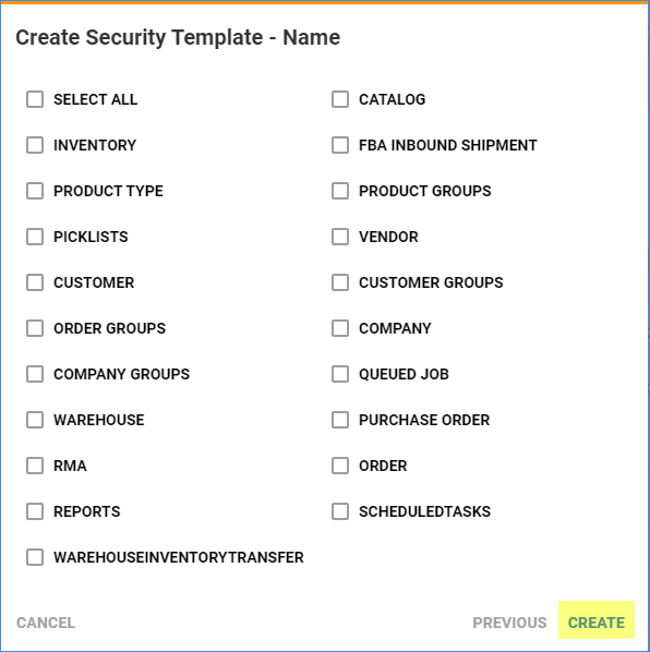 Select the entities to include in the security template