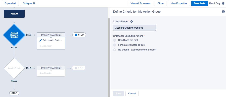 Deactivate button on process builder screen