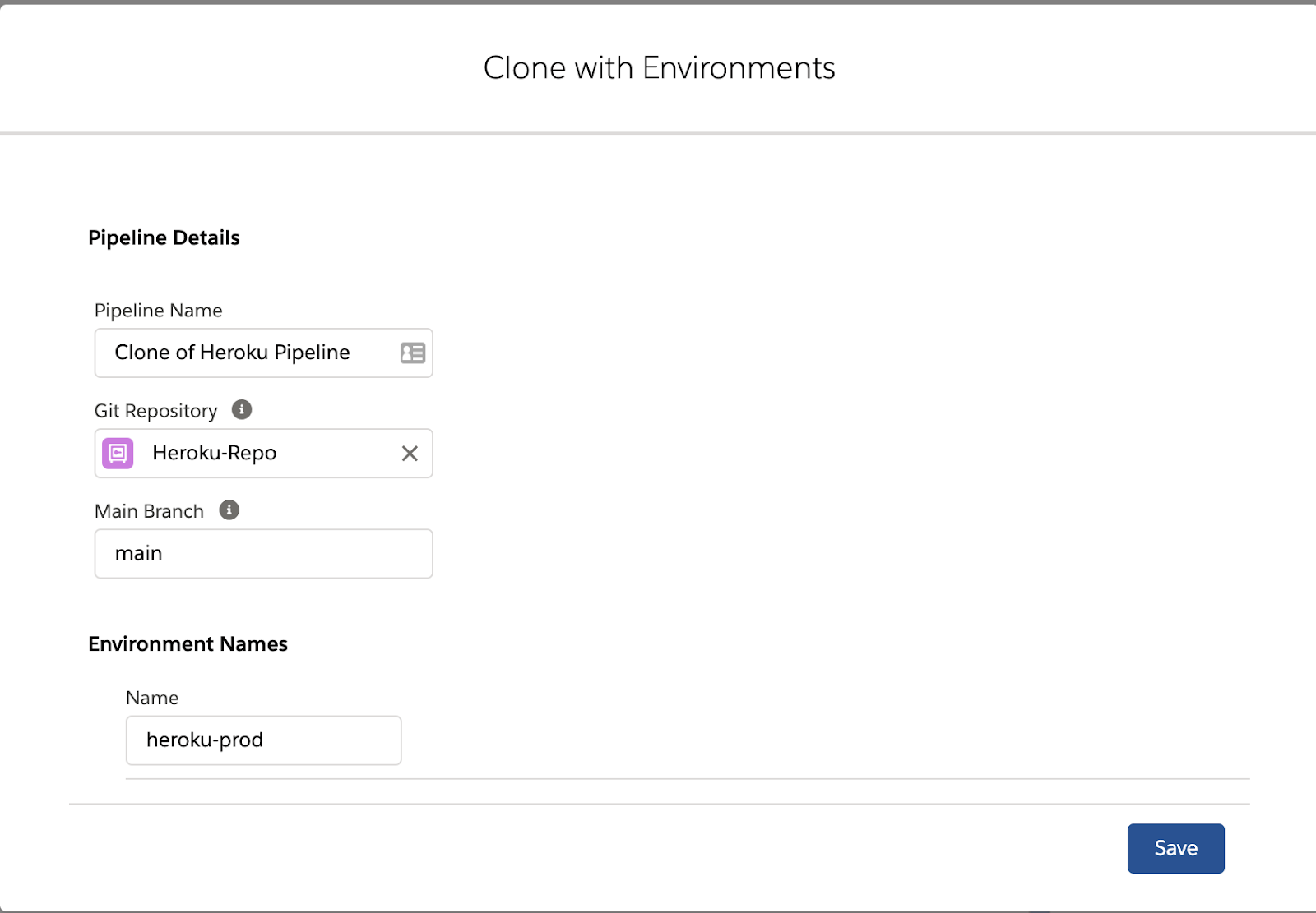 Clone with Environments popup