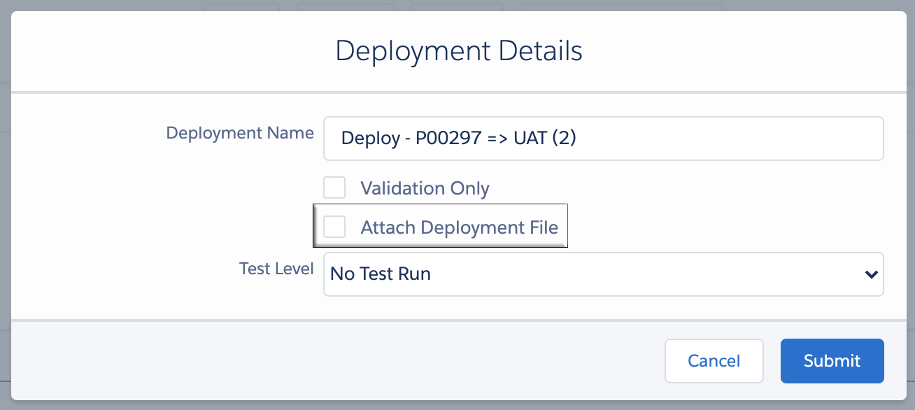 Attach Deployment File Checkbox