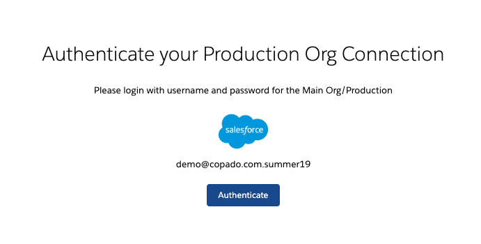 Authenticate production org
