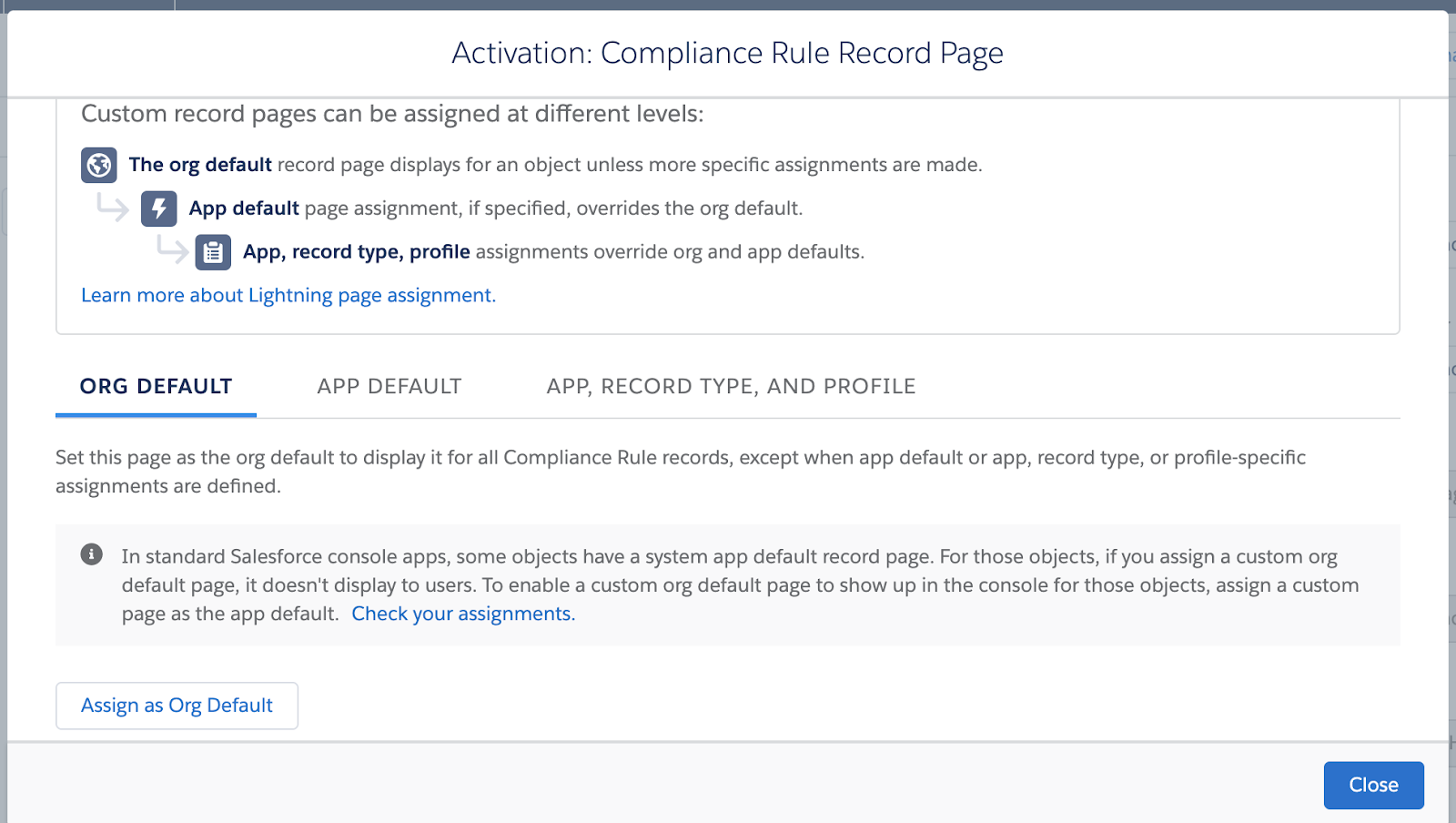 Activation: Compliance Rule Record Page