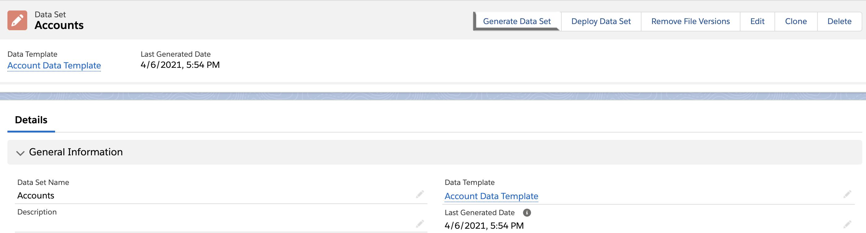Generate data set button