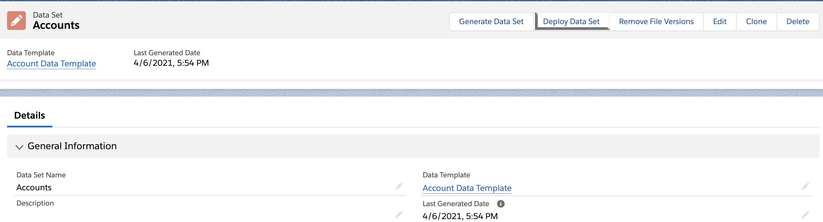 Deploy Data Set Button