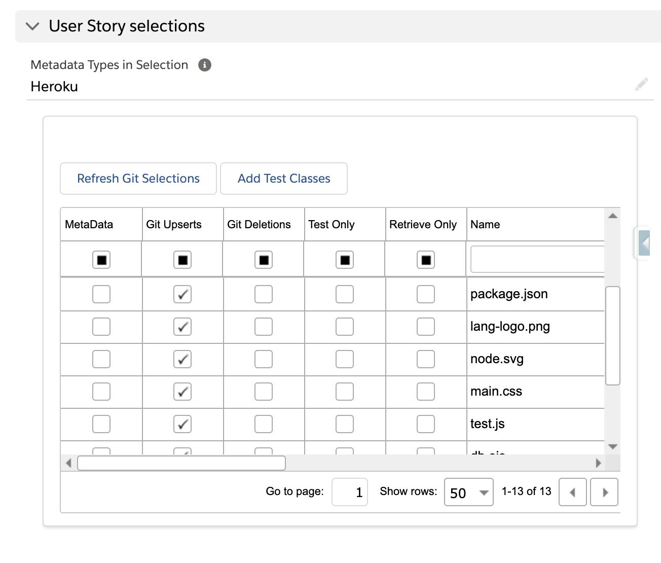 Metadata Selections grid
