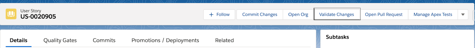 Validate Changes button