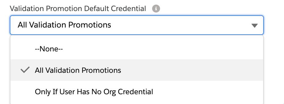 Validation Promotion Default Credential