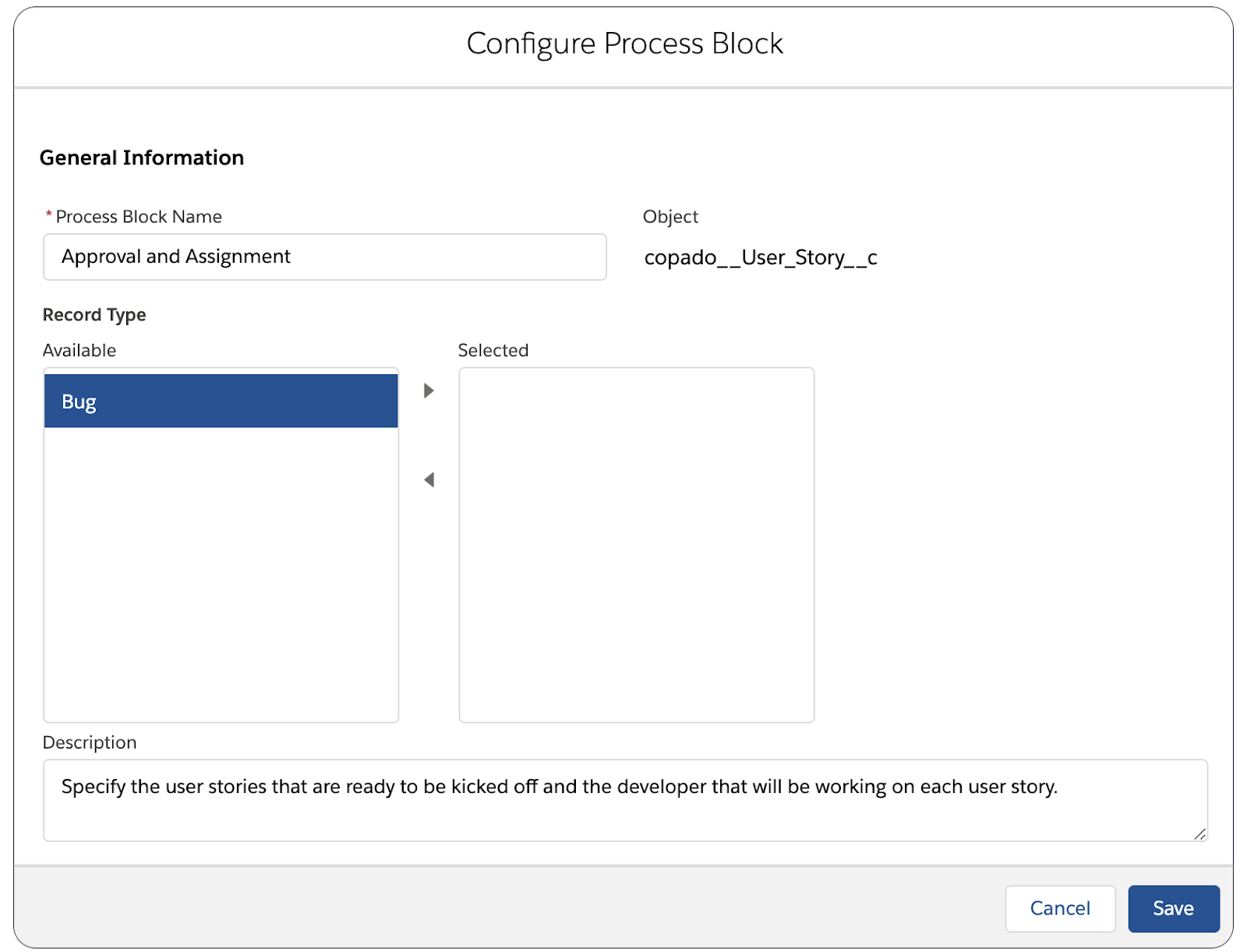Configure process blocks