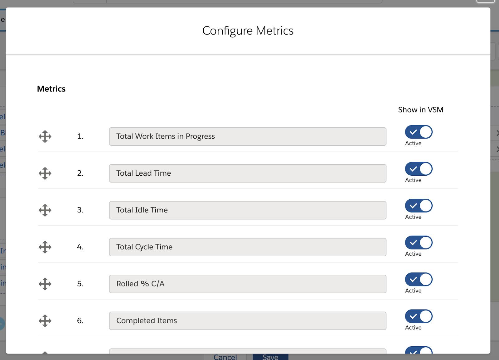 Configure Metrics page