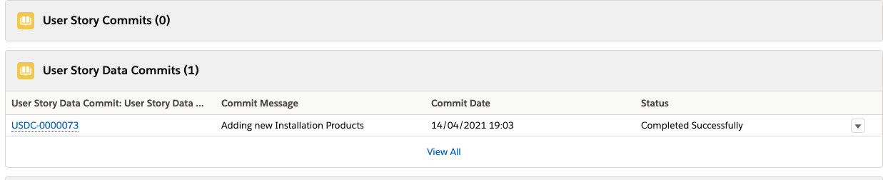 User Story Data Commit record
