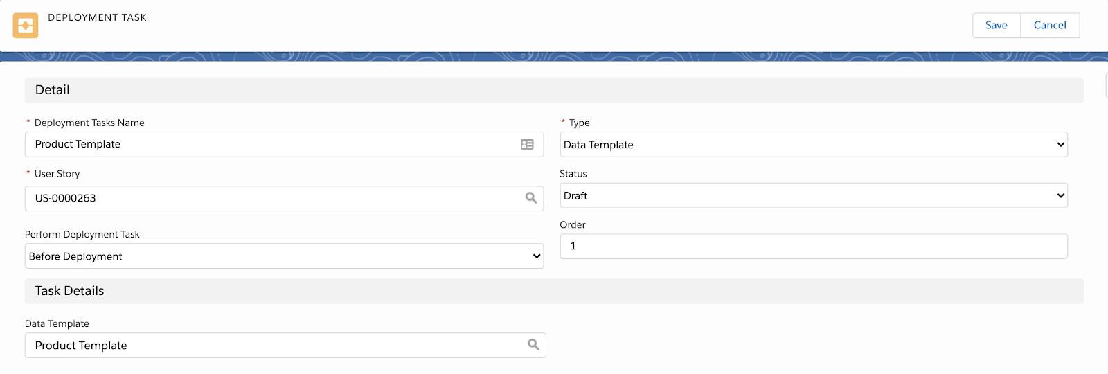 Data Template deployment task