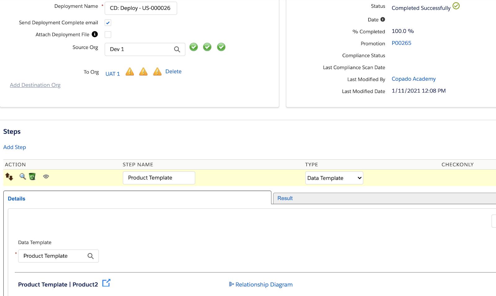 Data Template deployment step