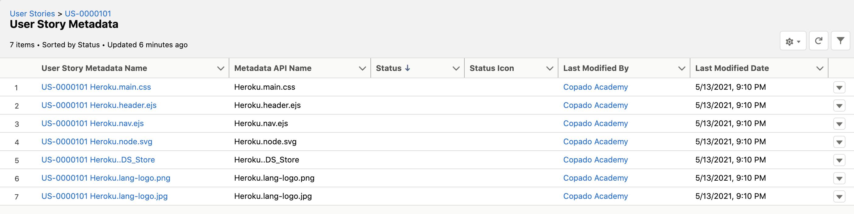 User Story Metadata records