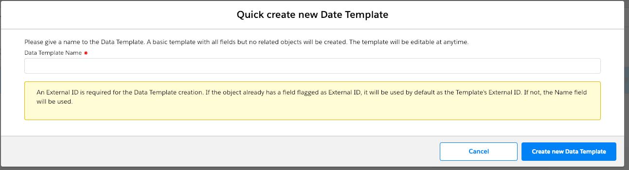 Quick create new template modal