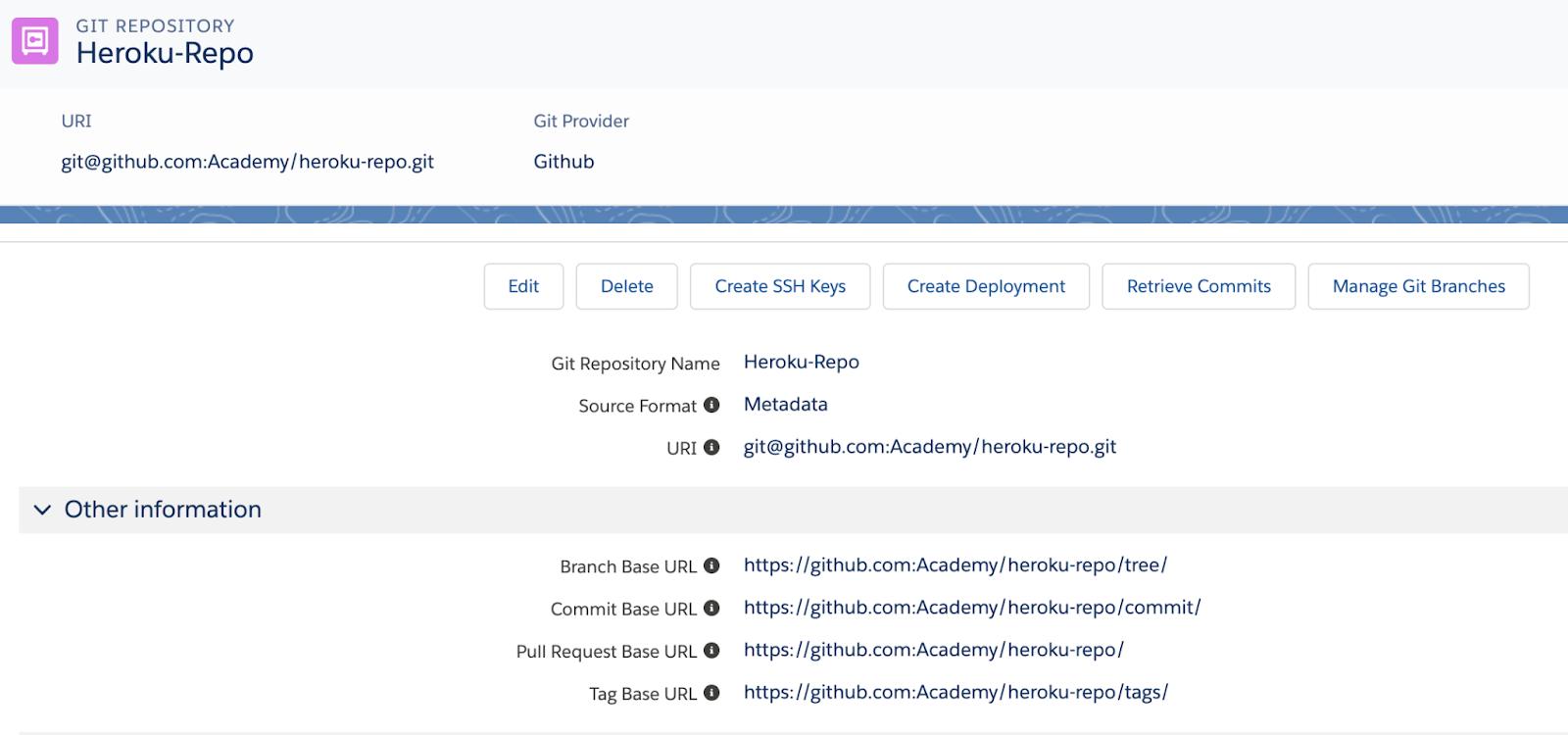 Heroku Git repository record
