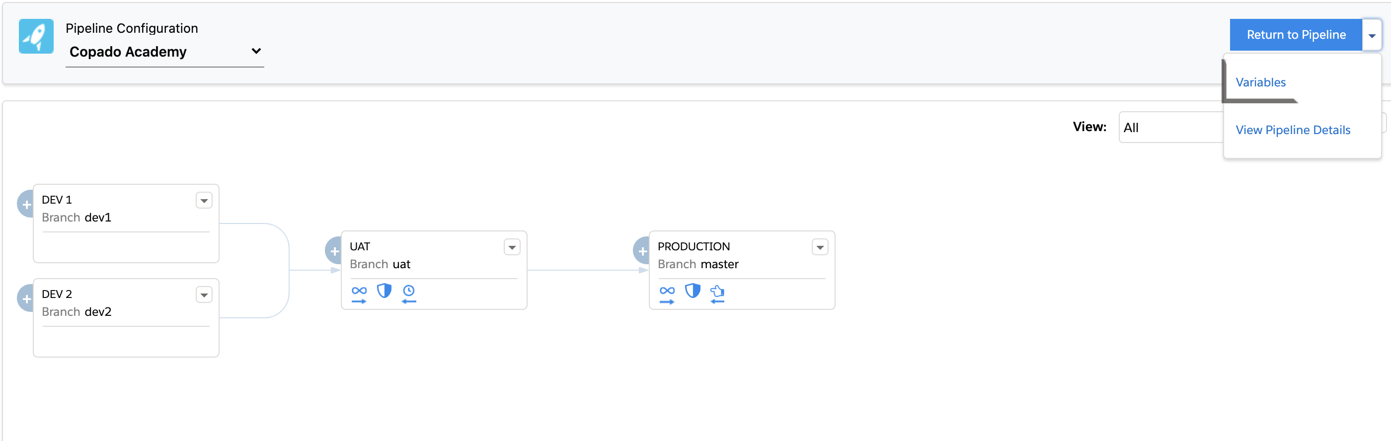 Variables link on Pipeline Configuration page