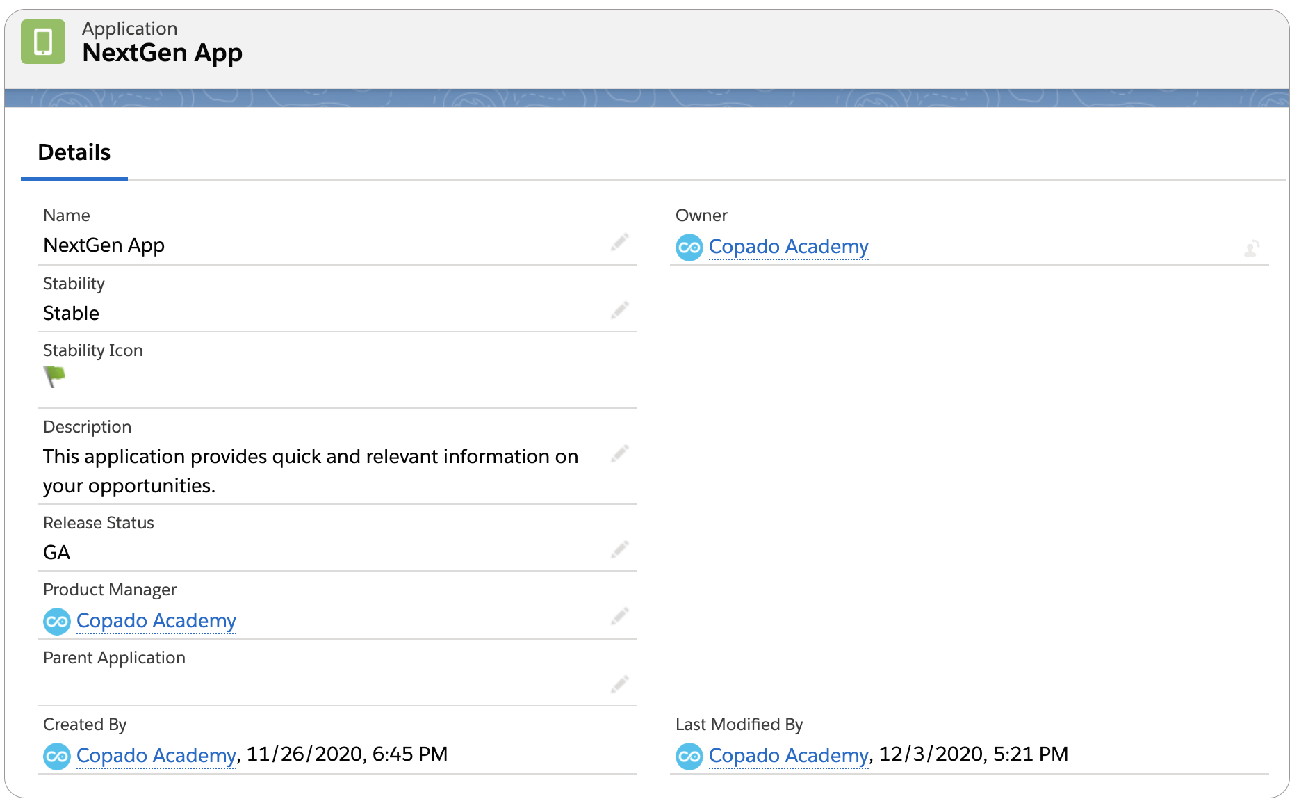 Application record Details page