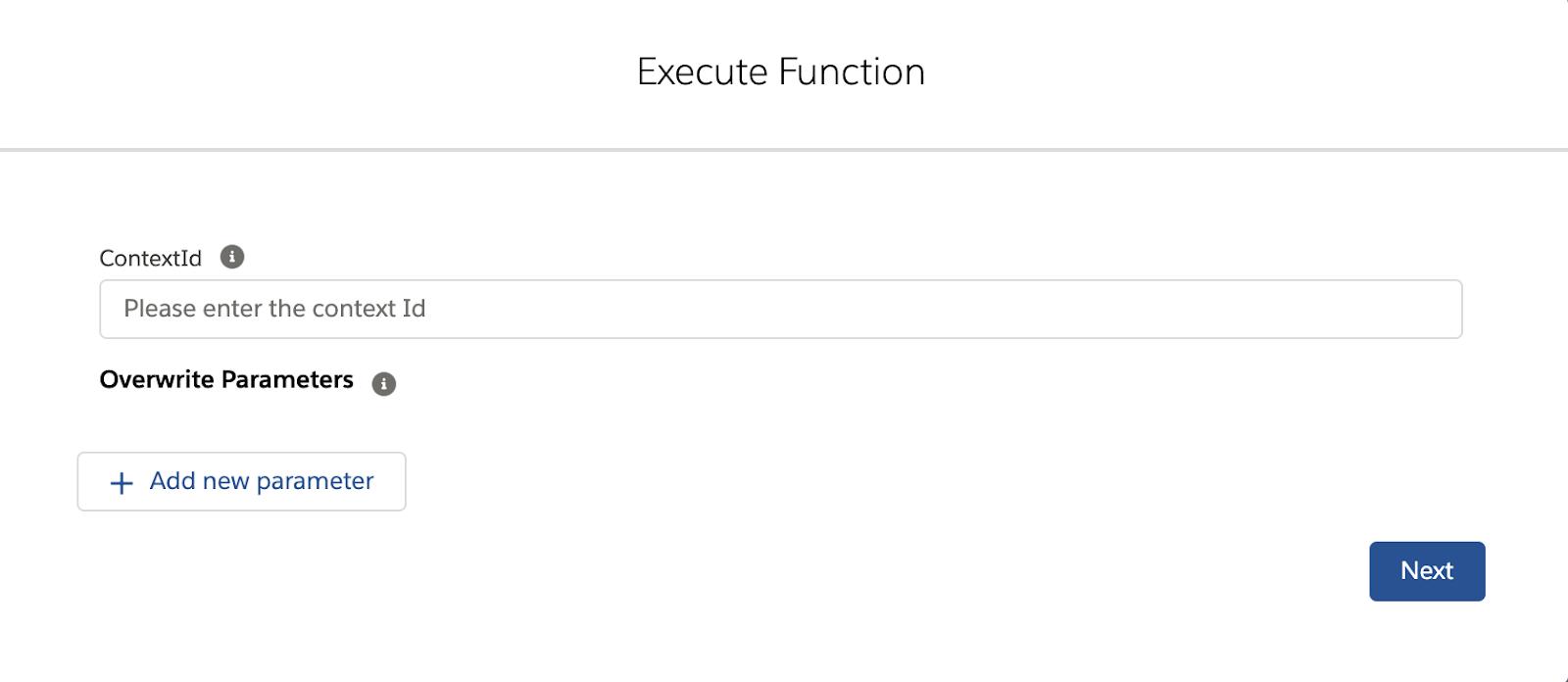 Function execution modal
