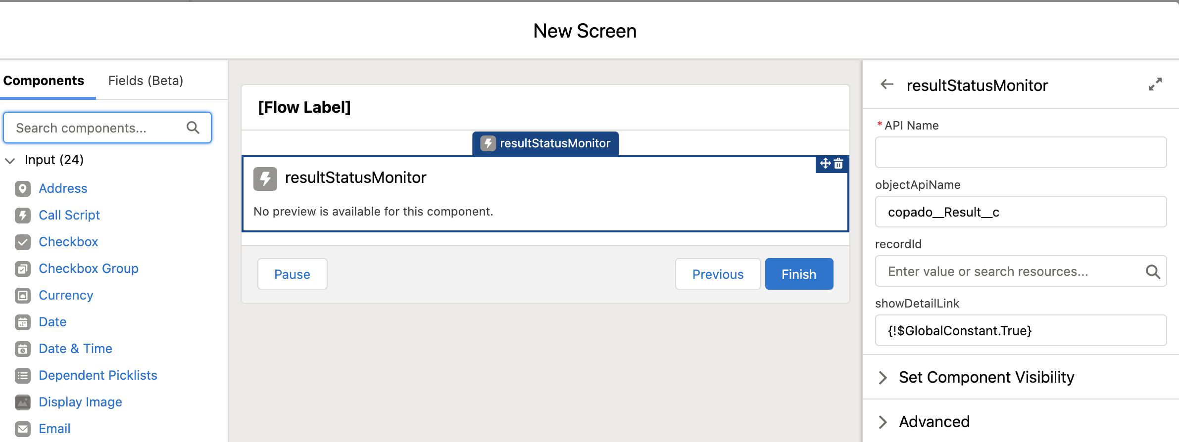 resultStatusMonitor flow component