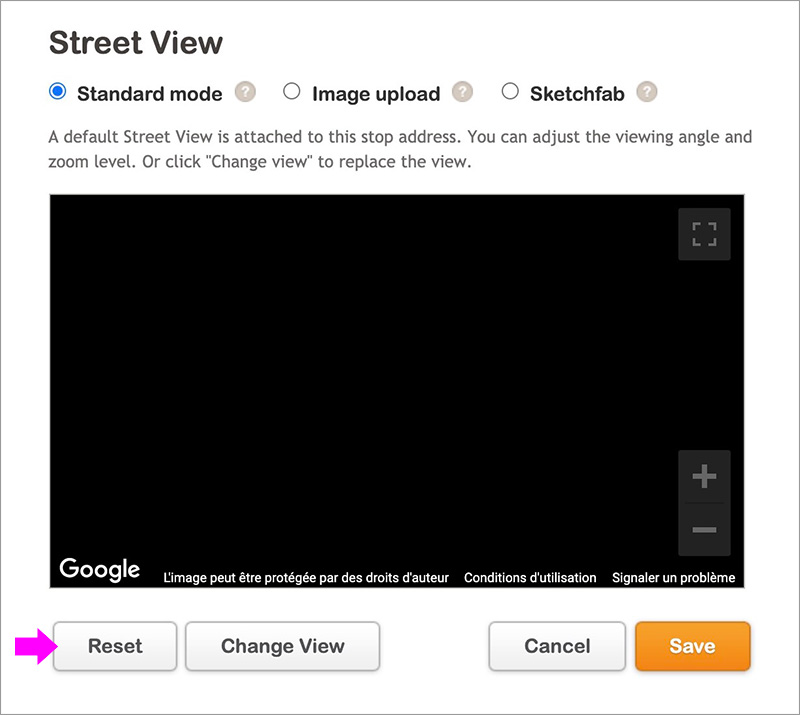 streetview reset