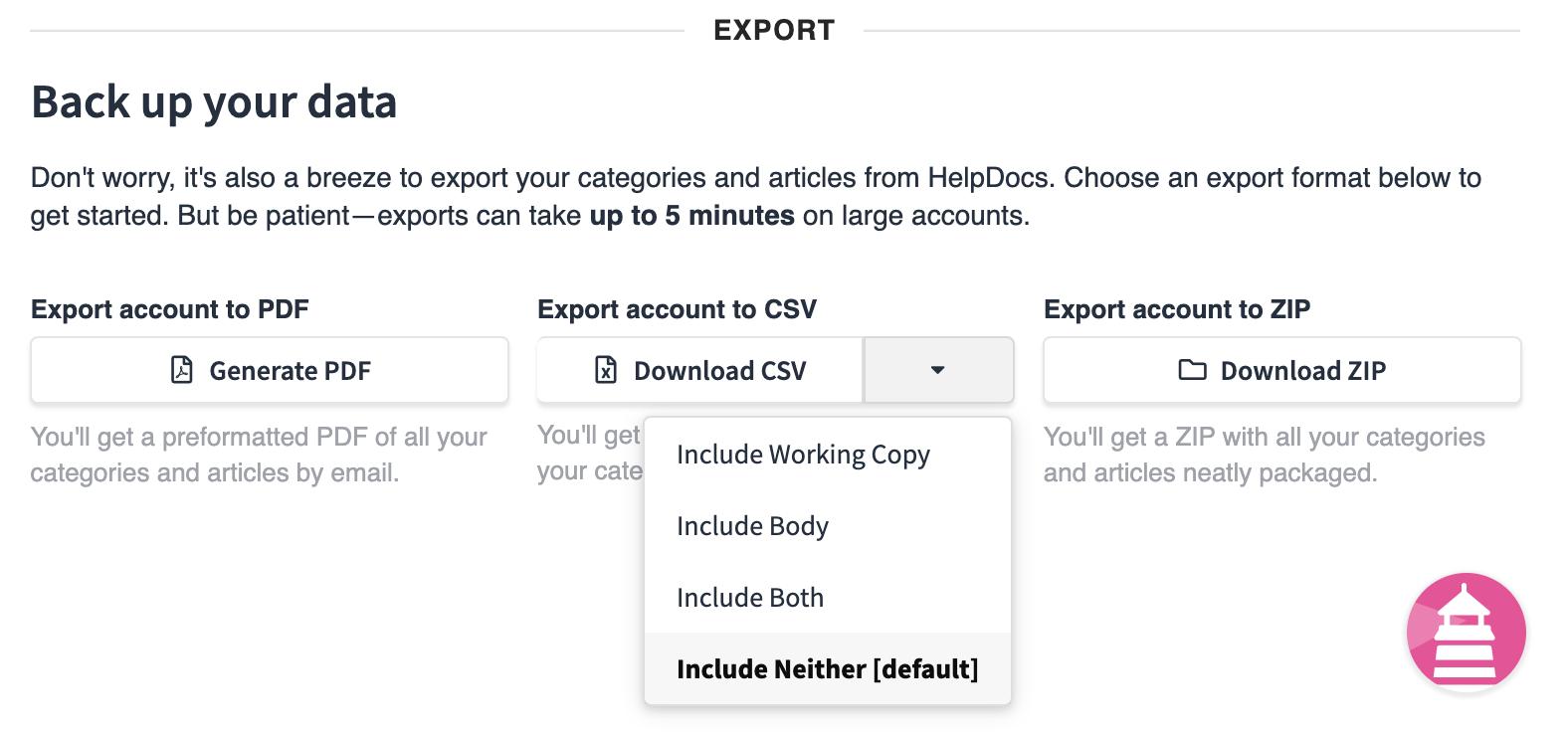 Screenshot of CSV download options