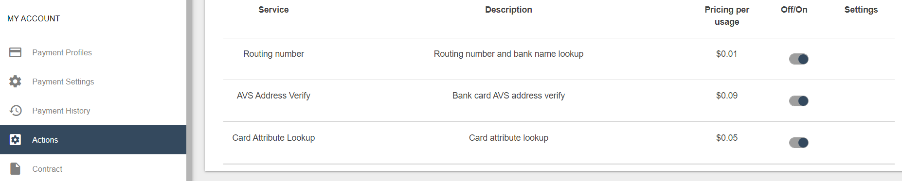 "Image shows the Actions section within My Account in the navigation pane at the left. One of the options is ""Card Attribute Lookup""."