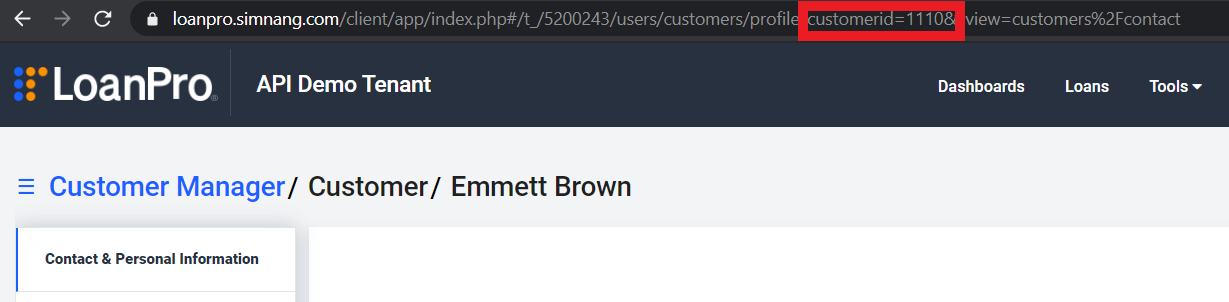 URL from the Customer Manager page. A box highlights the customer ID within the URL.