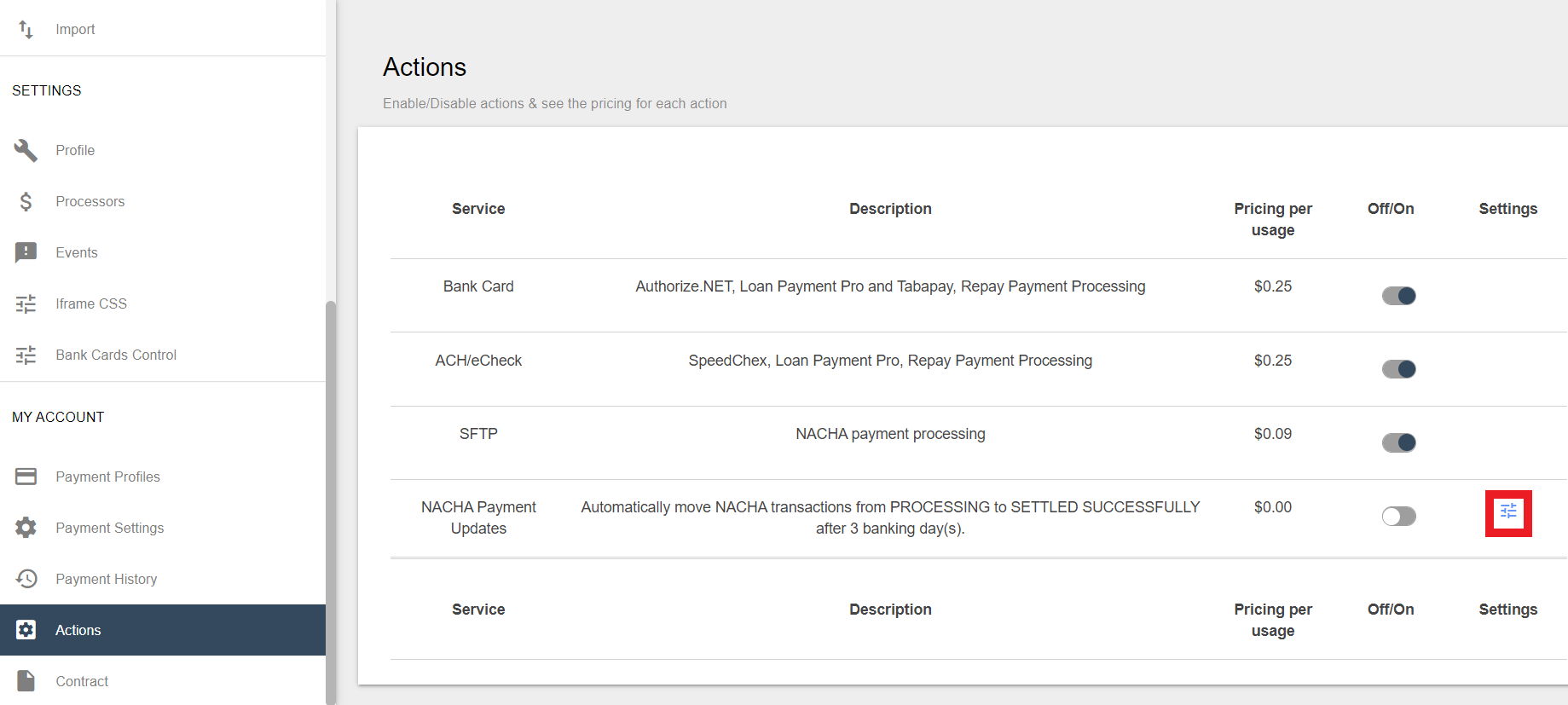 The actions page in Secure Payments. A small box highlights the settings switches on the right of NACHA Payment Updates.