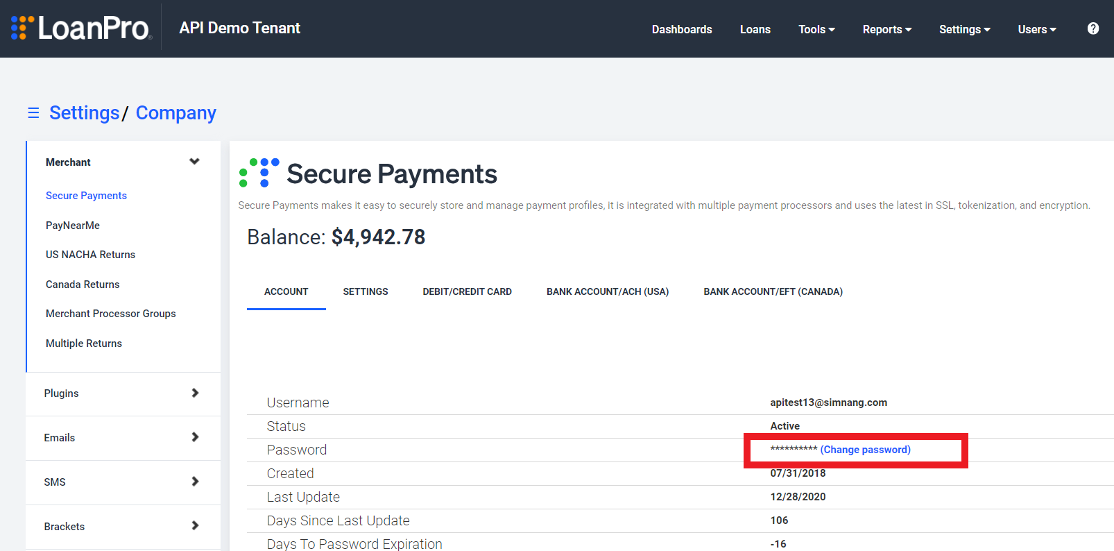 The Secure Payments account page within LoanPro's Company settings. A box highlights the Change Password option.
