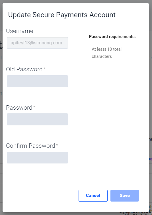 The pop-up window to change a Secure Payment account's password. Fields include Username, Old Password, New Password, and Confirm New Password.
