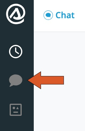 Arrow pointing to chat icon on Smith.ai Web Chat dashboard.