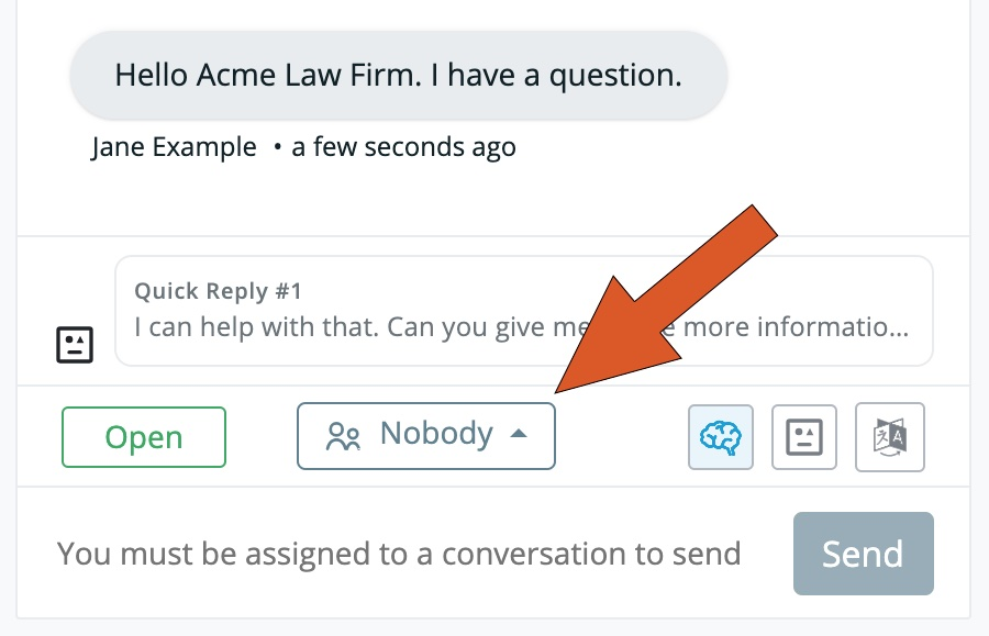 """Smith.ai Web Chat dashboard with the messaging view and an arrow pointing to """"Nobody."""""""