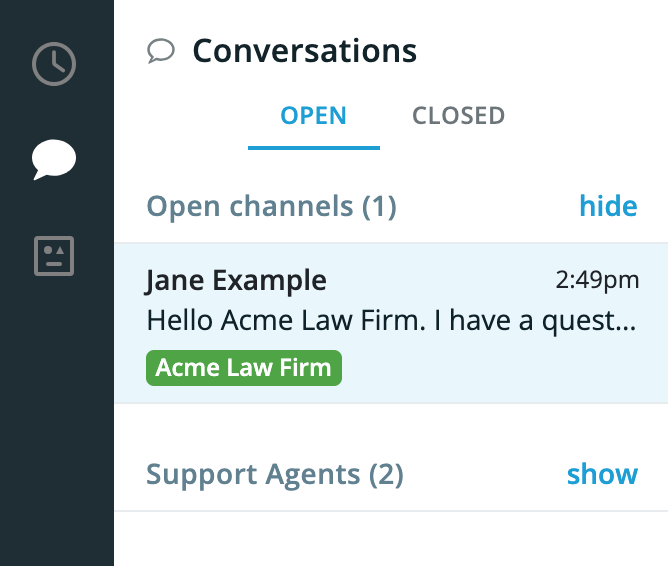 An open channel with Jane Example on the Smith.ai Web Chat dashboard.