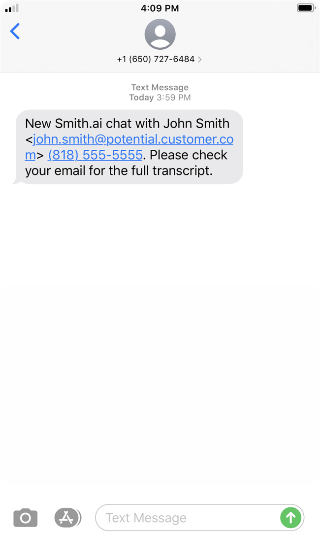 A screenshot of an iPhone text message coming from Smith.ai chat and including the name, email address, and phone number of the chatter.