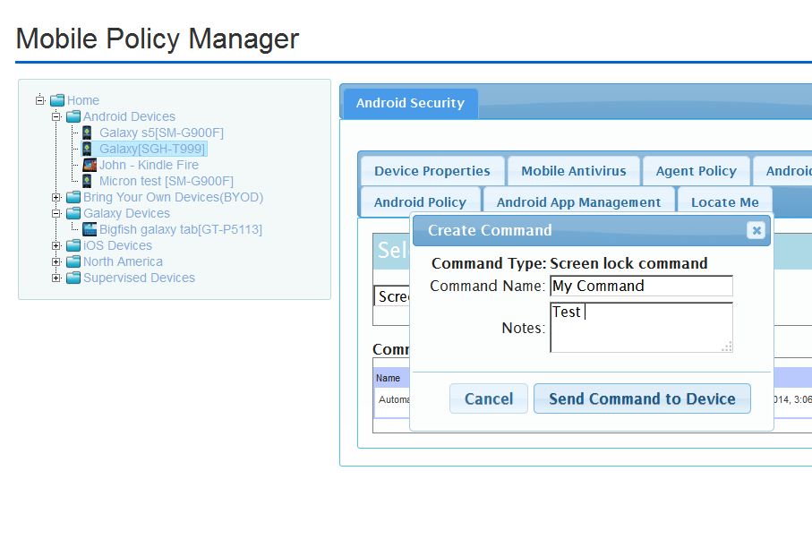 Sending Screen-lock command in Android