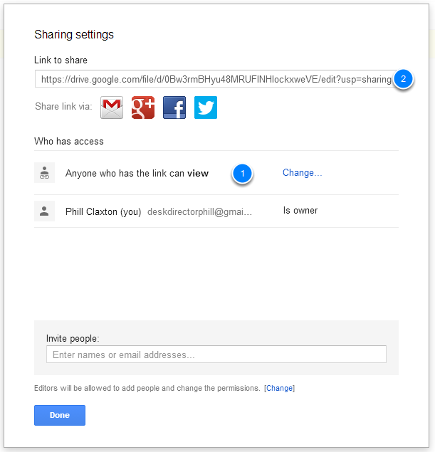 Change sharing settings and copy link