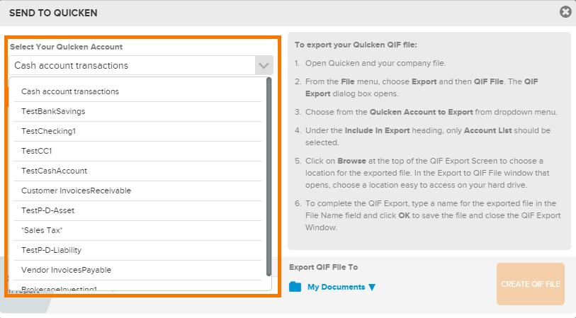 nla quicken select qif account