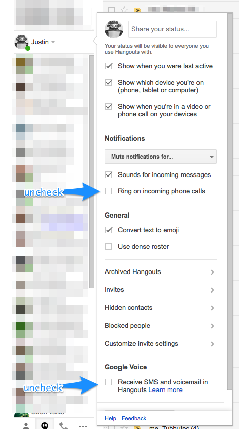 Google Hangout settings