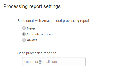 Processing Report Settings