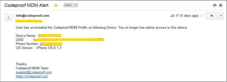MDM Profile un-installation alert email
