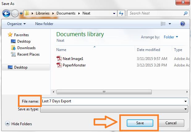 Neat Lightweight App Export selected date range - Step 5