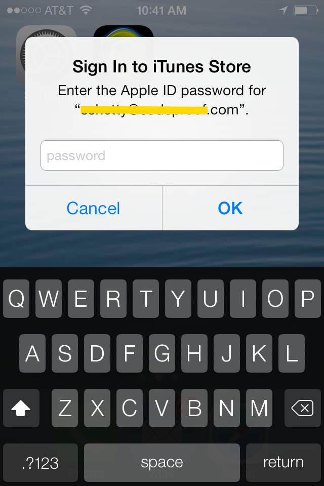 iTunes Store Authentication Prompt