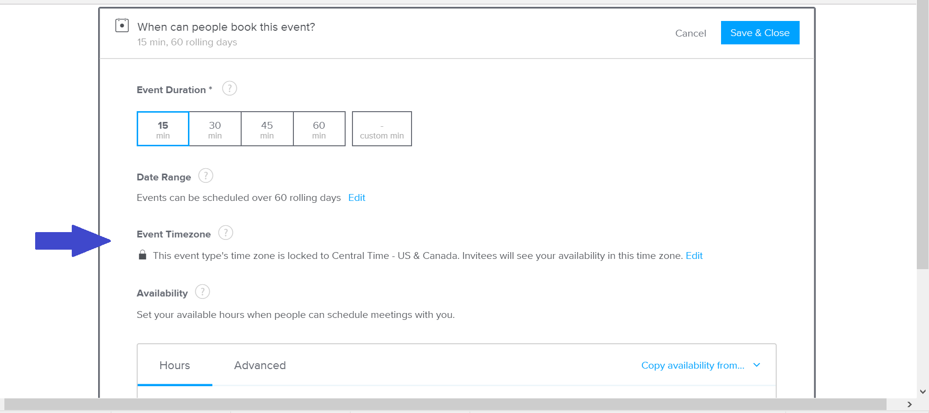 Calendly timezone settings