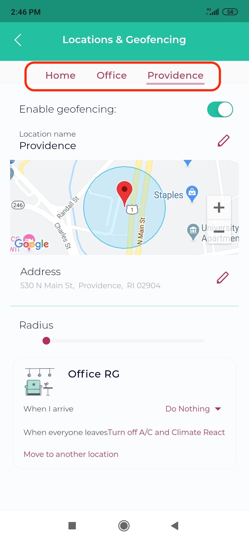 Sensibo choose location